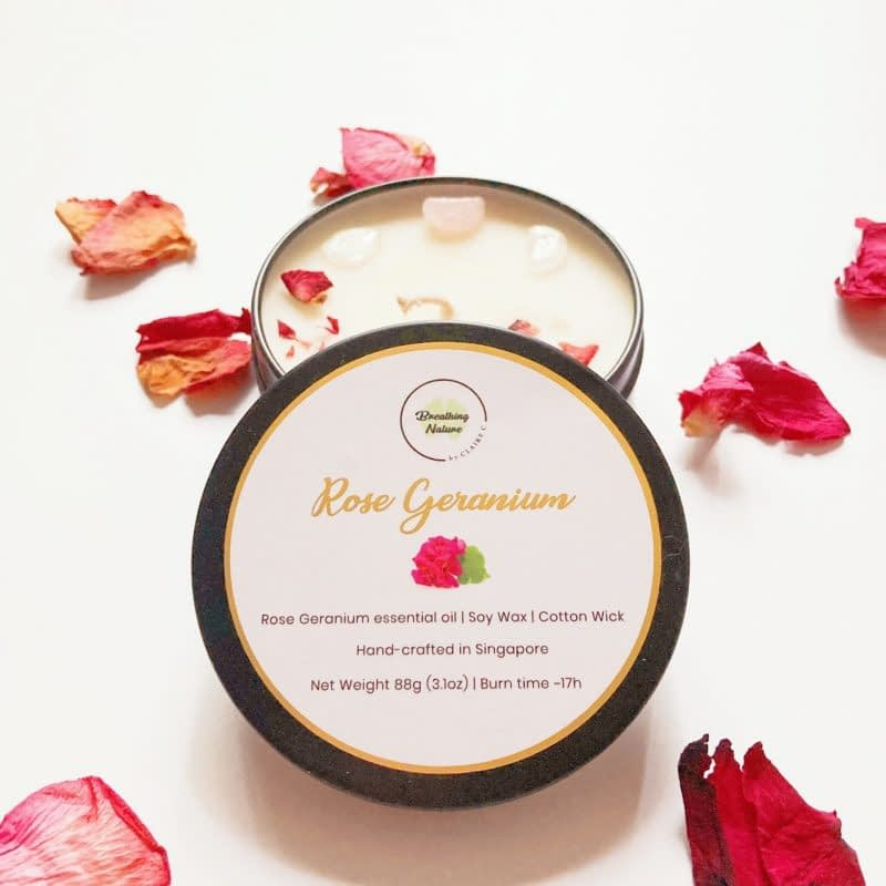 Rose Geranium Pocket candle